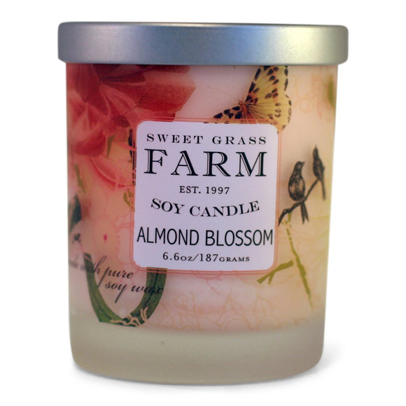 Frosted Tumbler Soy Wax Candles - Almond Blossom