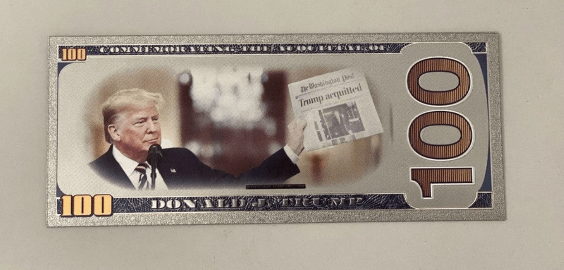$100 Trump Acquittal SILVER Bill - My Home and Pet