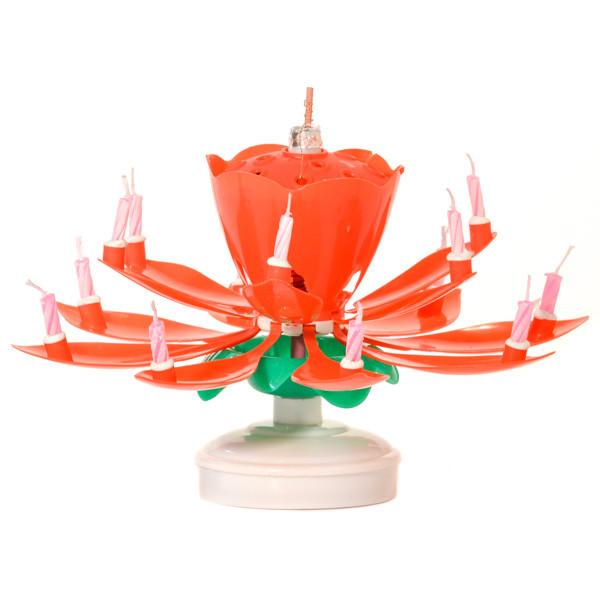 Musical Flower Birthday Candles Red Lotus - My Home and Pet