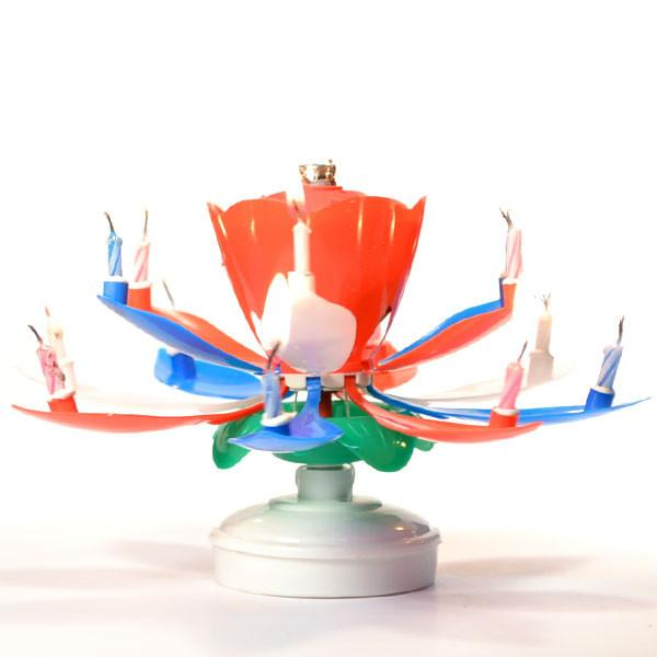 Lotus Birthday Candle Red White Blue - My Home and Pet