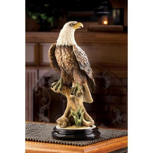 Standing Strong American Bald Eagle on Cliff Statue