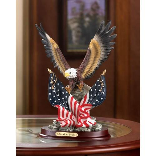 American Bald Eagle with Flags Statue - My Home and Pet