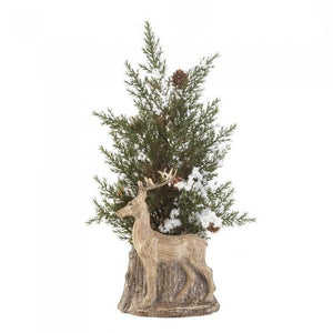 Christmas Tabletop Country Deer Pine Tree - Cortez Candle's