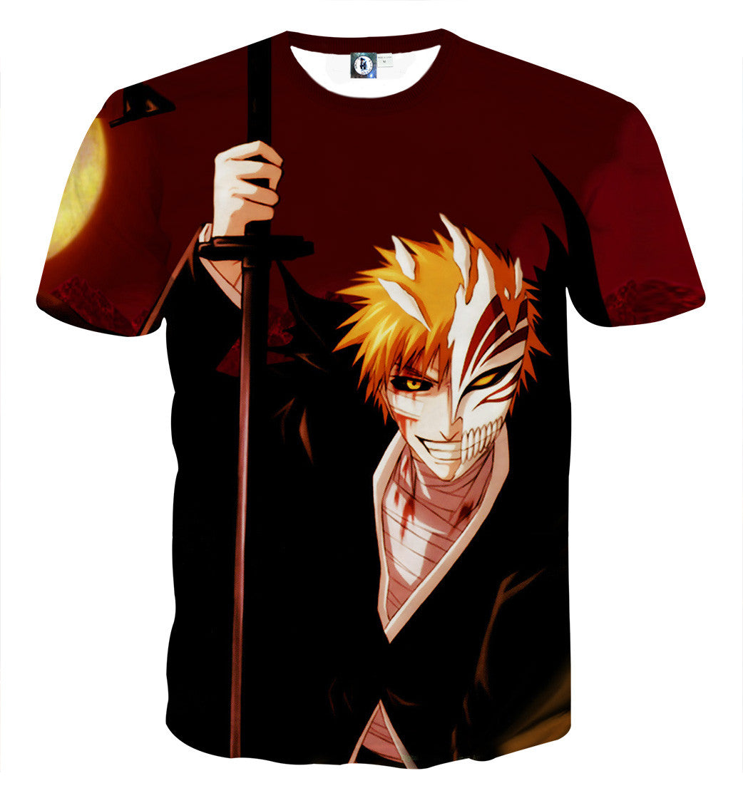 Bleach Ichigo Hollow Mask Fan Art Sketch Design T Shirt Konoha Stuff