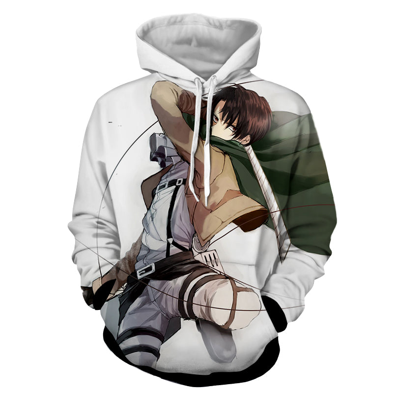 ea37a083 Attack On Titan Levi Ackerman Fighting Dope Style Print Hoodie
