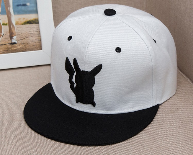 go pikachu embroidery cool white hip hop hat cap