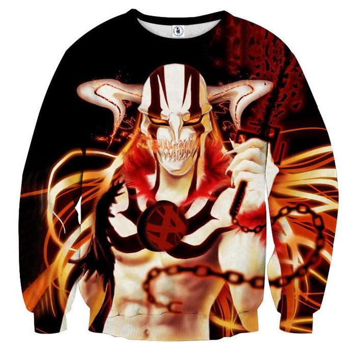 Bleach Hollow Ichigo Horn Evil Chain Art Hollow Mask Sweatshirt - Konoha Stuff