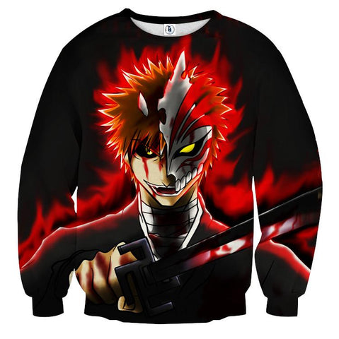 Bleach Anime Ichigo Kurosaki Hollow Mask Cool Sweatshirt