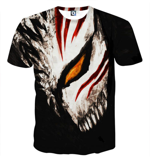 Bleach Ichigo Face Mask Art Drawing Streetwear Style T-Shirt - Konoha Stuff