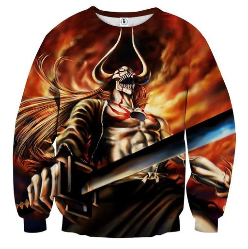 Bleach Ichigo Full Hollow Horn Devil Sword Flame Sweatshirt - Konoha Stuff
