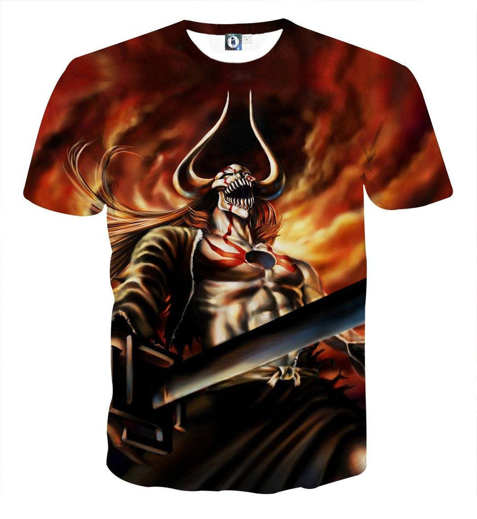 Bleach Ichigo Full Hollow Horn Devil Sword Flaming T-Shirt