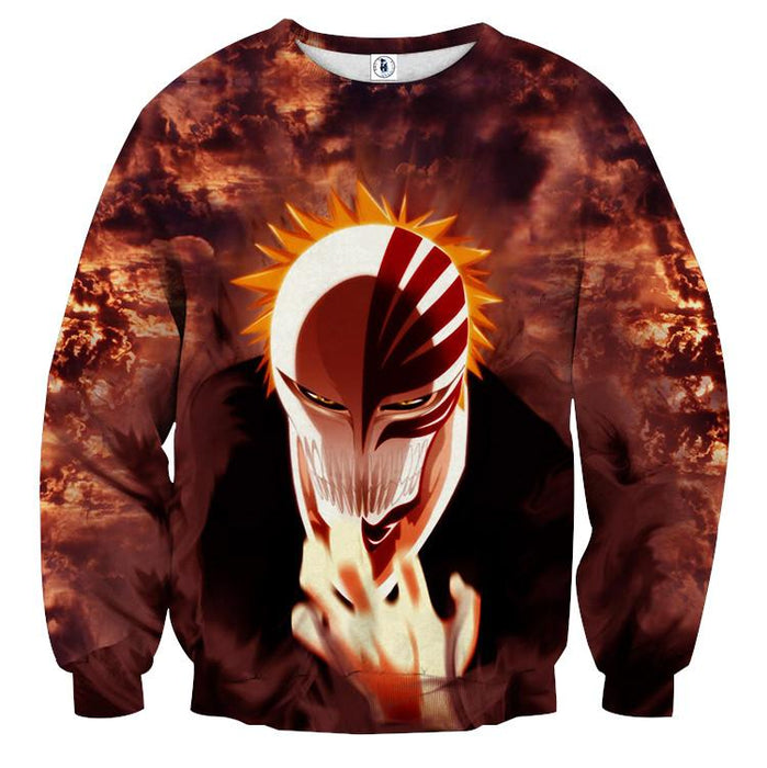 Bleach Anime Ichigo Kurosaki Hollow Mask Cool 3D Sweatshirt - Konoha Stuff