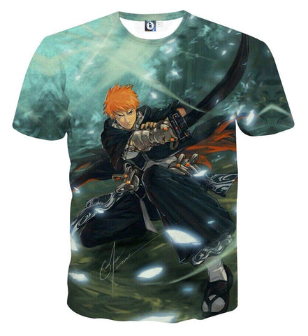 Bleach Ichigo Shinigami Black Katana Artwork Anime T-Shirt