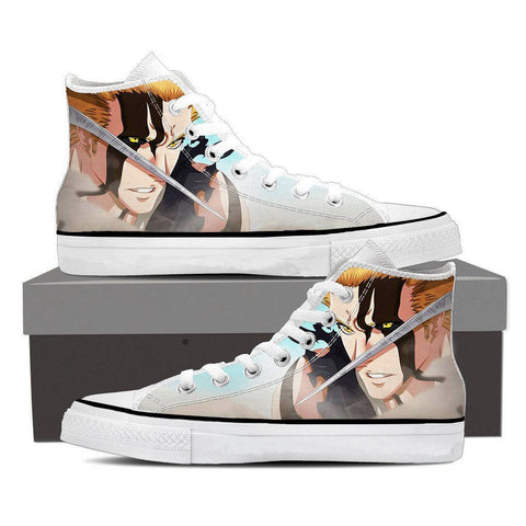 Bleach Anime Ichigo Kurosaki Full Face Amazing Fan Art Converse Shoes