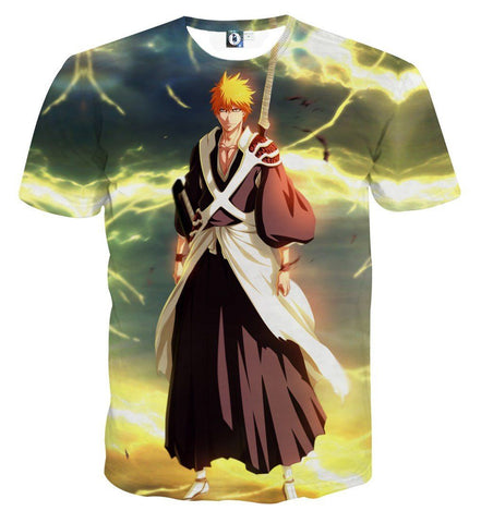 Bleach Ichigo Shinigami Uniform Cool Thunder Design T-Shirt