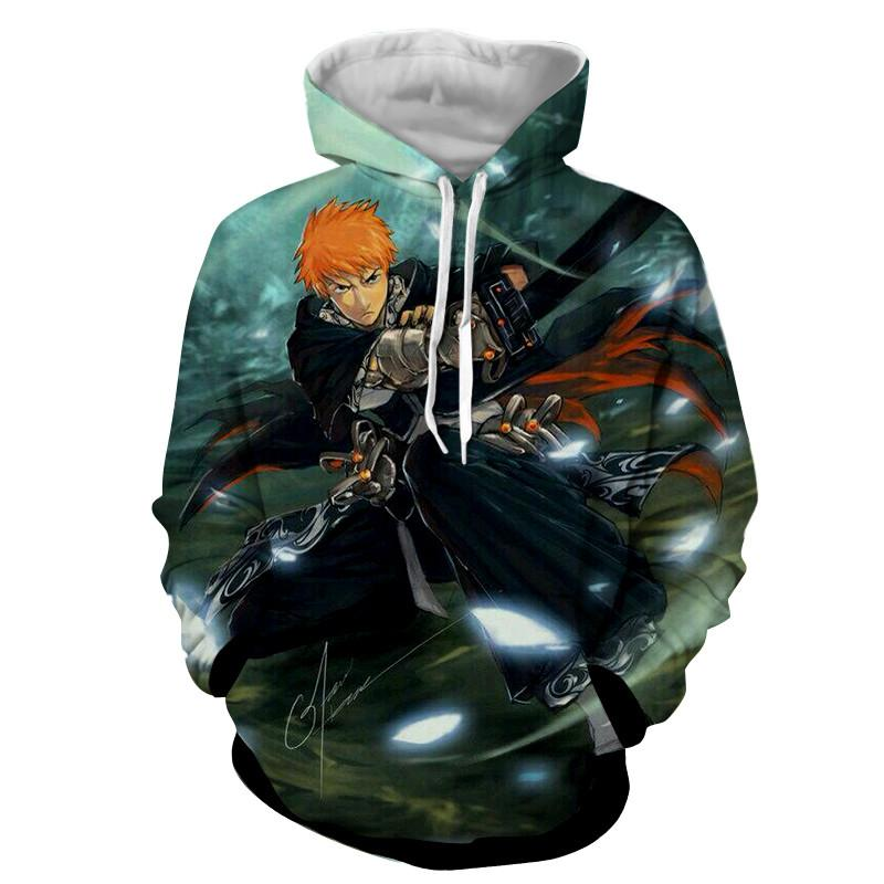 Bleach Ichigo Shinigami Black Katana Artwork Anime Hoodie