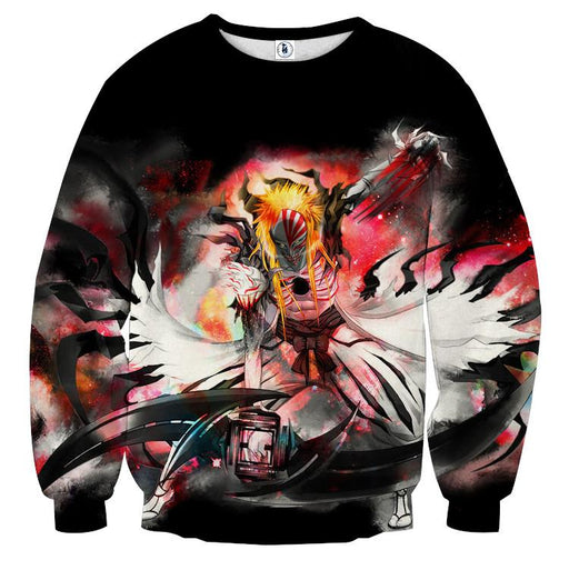 Bleach Hollow Ichigo Mask Fantasy Fan Art Winter Sweatshirt - Konoha Stuff