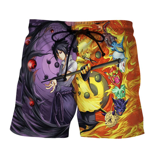 Naruto Sasuke Power Jinchuuriki Sharingan Patterned Shorts