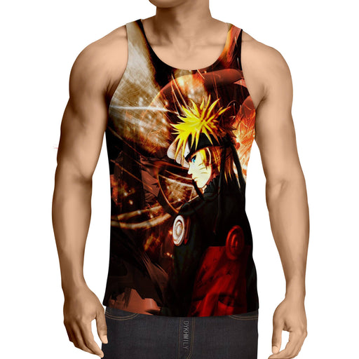 Naruto Shippuden Fan Art Fire Background Design Tank Top