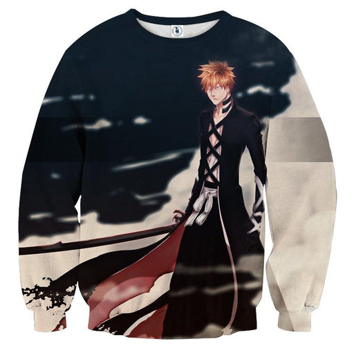 Bleach Ichigo Black Shihakusho Fan Artwork Print Sweatshirt - Konoha Stuff