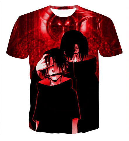 Brotherhood in Anime Sasuke and Itachi Uchiha Impressive Red T-shirt - Konoha Stuff