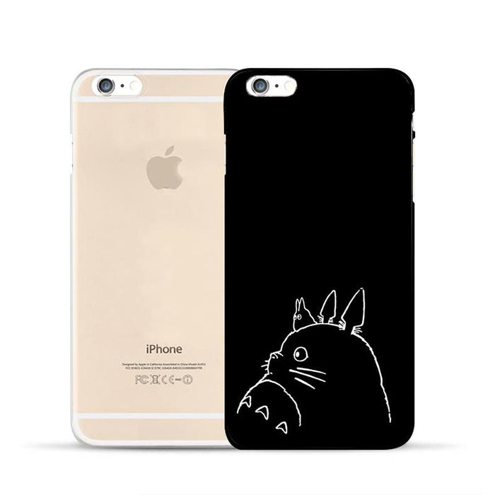Totoro Japan Ghibli  Creature Symbol Black Minimalist Case for iPhone 6 7 S Plus - Konoha Stuff