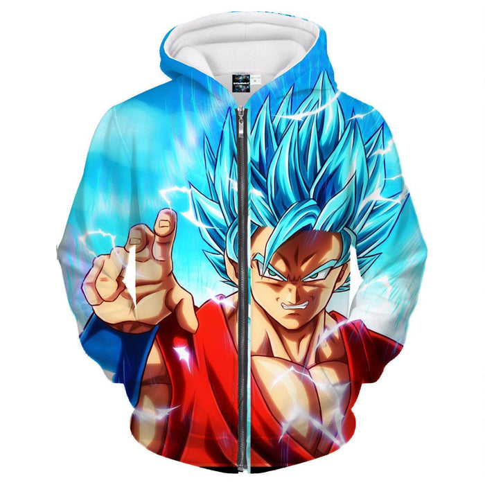 Angry Goku Super Saiyan God Blue Power Thunder Attack Zipper Hoodie