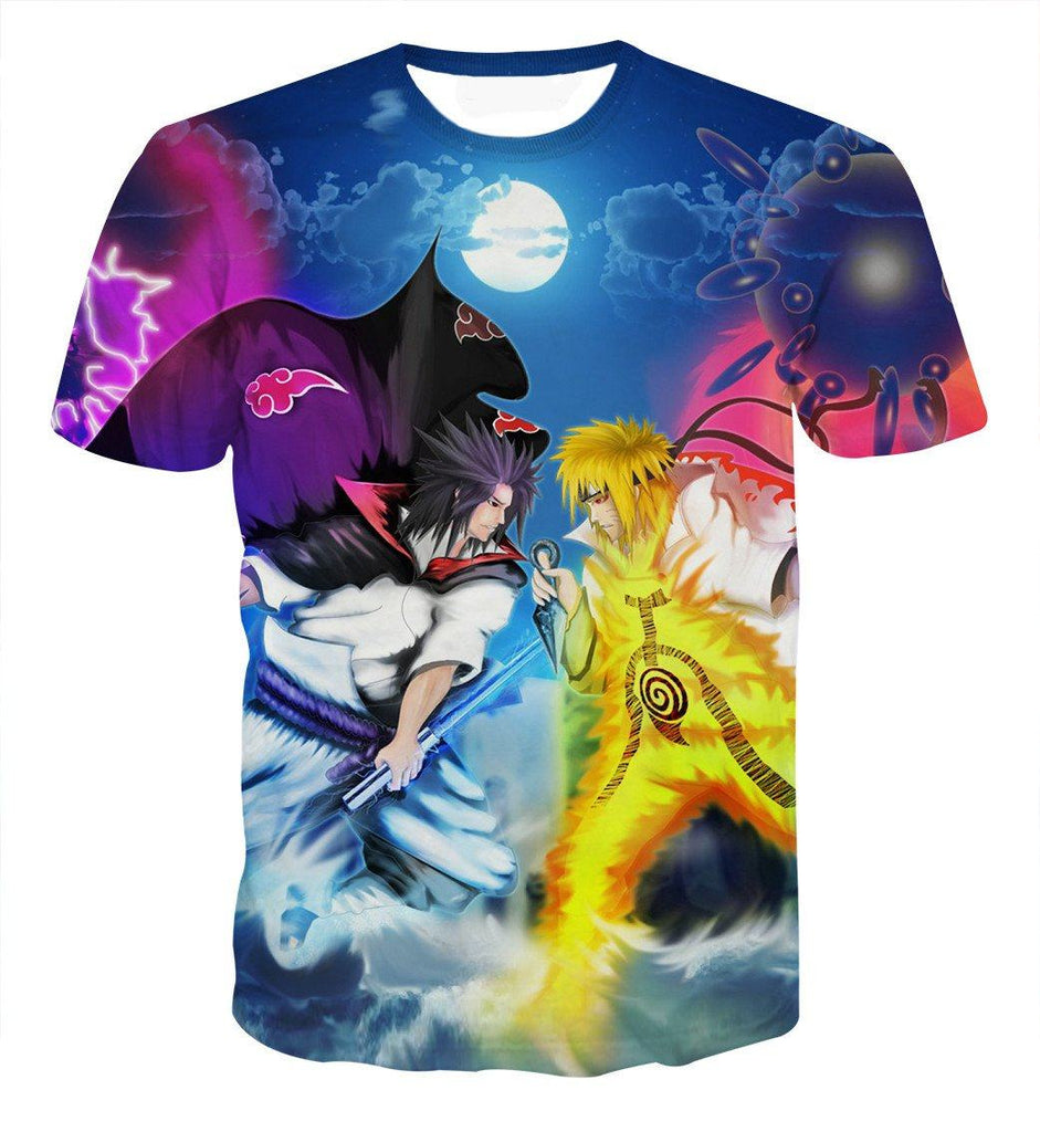 Incredible Battle Naruto vs Sasuke Ultimate Fight Fashionable T-shirt - Konoha Stuff