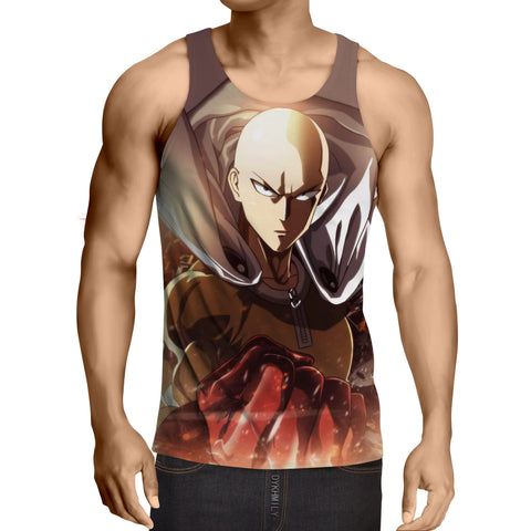 One-Punch Man Angry Saitama Portrait Dope Style Print Tank Top