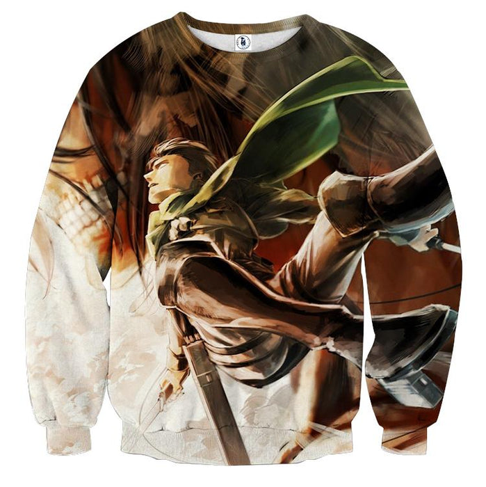 Attack On Titan Levi Battle Scene Fan Art Full Print Sweatshirt - Konoha Stuff