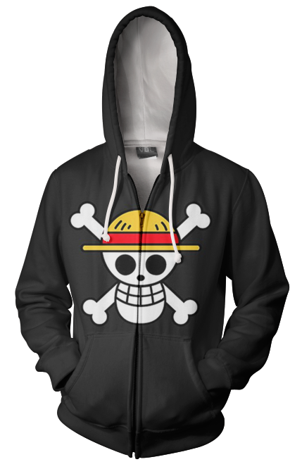 One Piece Straw Hat Pirates RWBY Qrow & Ruby Scythes Zip Up Hoodie
