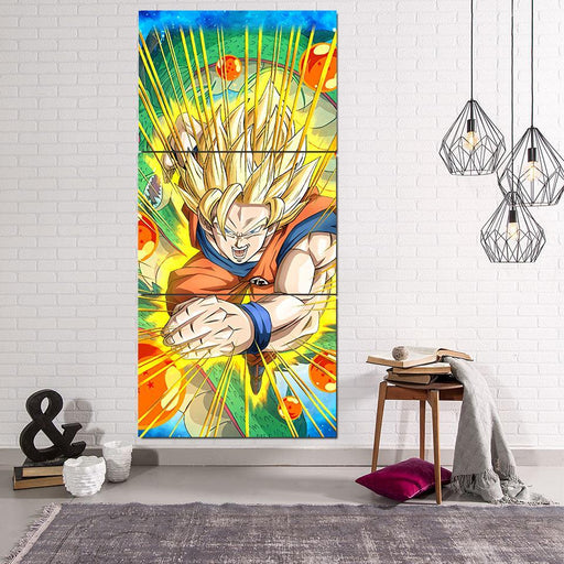 4e0dc338320c Dragon Ball Muscular Goku Aura Vibrant 3Pc Canvas Print