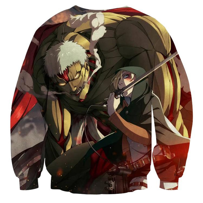 Attack On Titan Armored Reiner And Annie Perfect Print Sweatshirt - Konoha Stuff