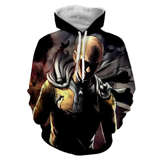 One-Punch Man Badass Saitama Black Theme Full Print Hoodie - Konoha Stuff