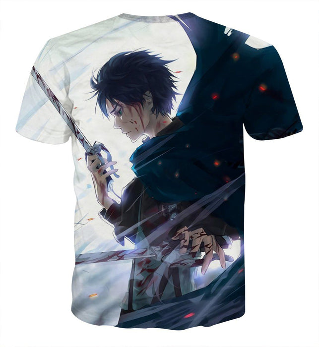Attack On Titan Lonely Eren Sadness Cool Design Print T-shirt - Konoha Stuff