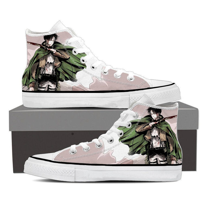 Attack On Titan Levi Blood On His Face Fan Art Cool Shoes - Konoha Stuff