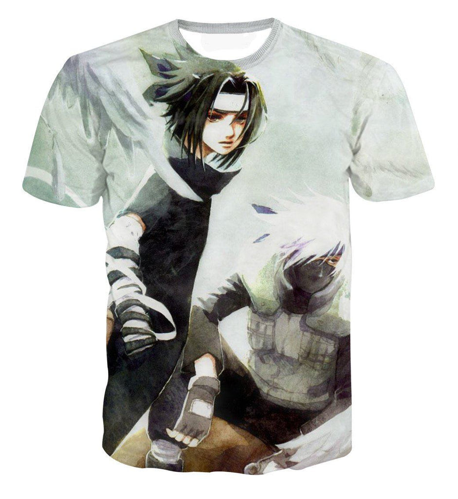 Vintage Style Sasuke and Kakashi Master Impressive Power Trendy T-shirt - Konoha Stuff