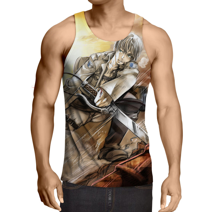 Attack On Titan Exhausted Eren Dope Fan Art Full Print Tank Top - Konoha Stuff