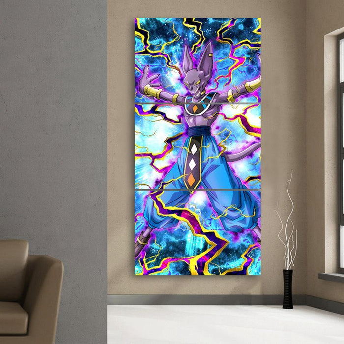 Beerus Destruction God Egyptian Vibrant 3Pc Canvas Print