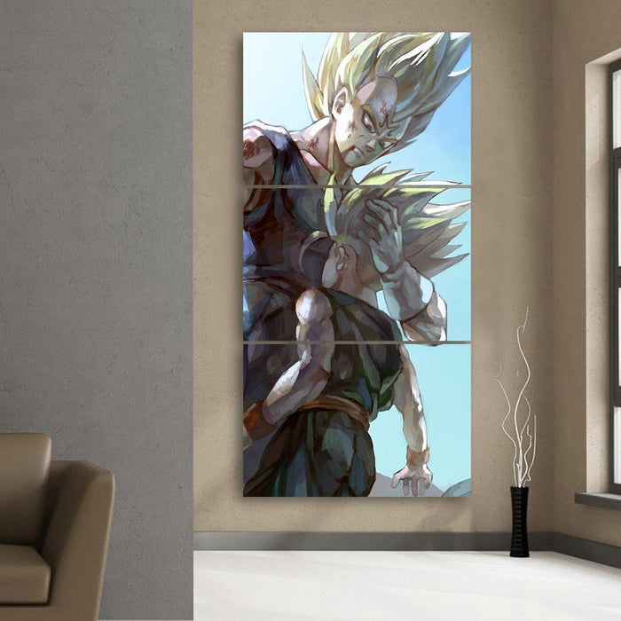 Father And Son Bloody Majin Vegeta Kid Trunks 3Pc Canvas