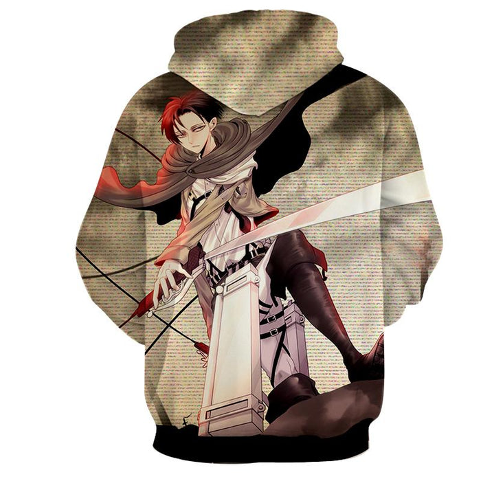 Attack On Titan Handsome Levi Cool Fan Art 3D Print Hoodie - Konoha Stuff