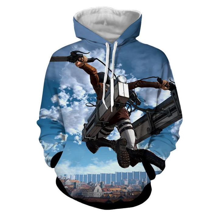 Attack On Titan Captain Levi High Jumping Cool Design Hoodie - Konoha Stuff