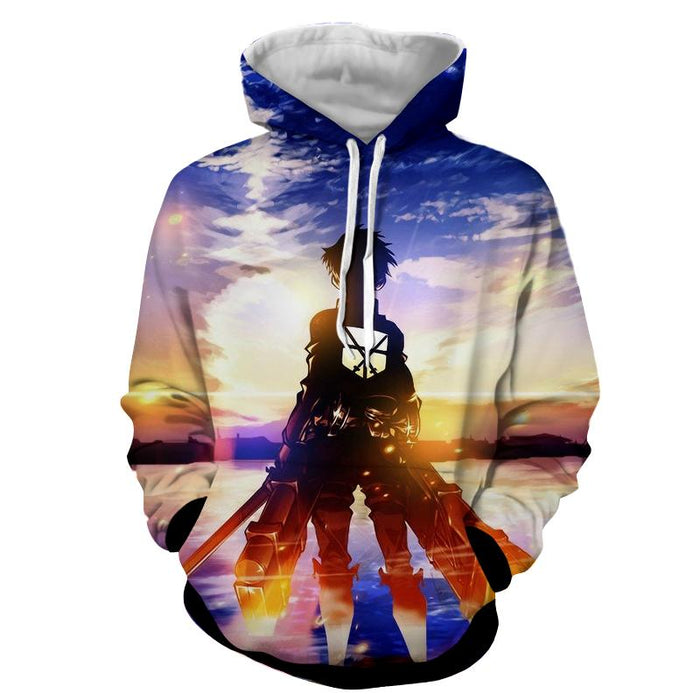 Attack On Titan Lonely Eren Watching Sunset Vibrant Hoodie - Konoha Stuff