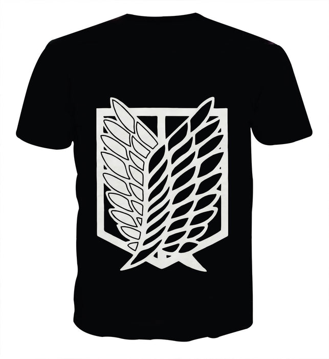 Attack On Titan Survey Corps Black And White Symbol T-shirt - Konoha Stuff