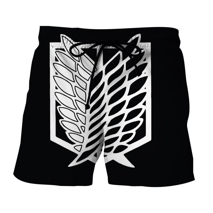 Attack On Titan Survey Corps Black And White Symbol Short - Konoha Stuff