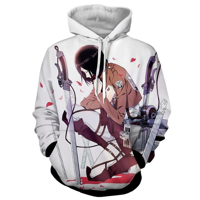 Attack On Titan Lonely Mikasa Praying Fan Art Vibrant Hoodie - Konoha Stuff