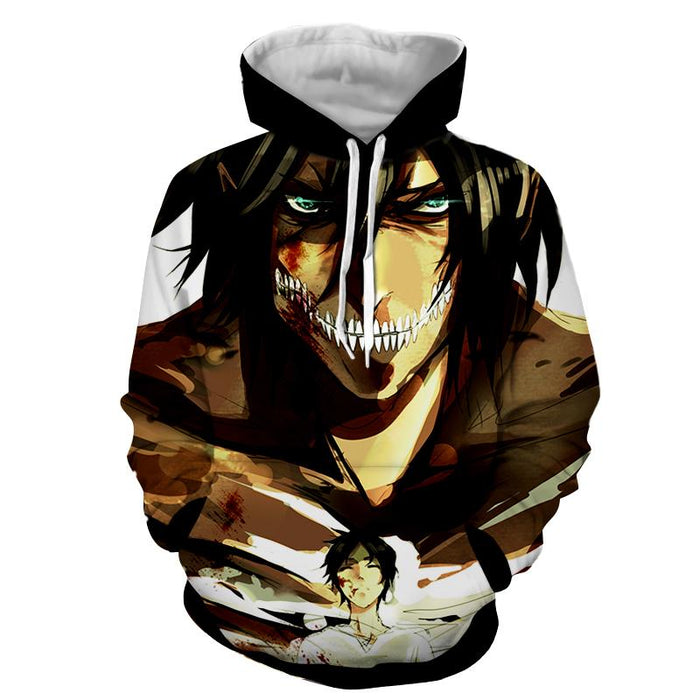 Attack On Titan Eren Titan Shifter Strong Power Print Hoodie - Konoha Stuff