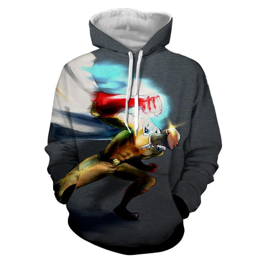 One-Punch Man Saitama Serious Punch Swag Full Print Hoodie - Konoha Stuff