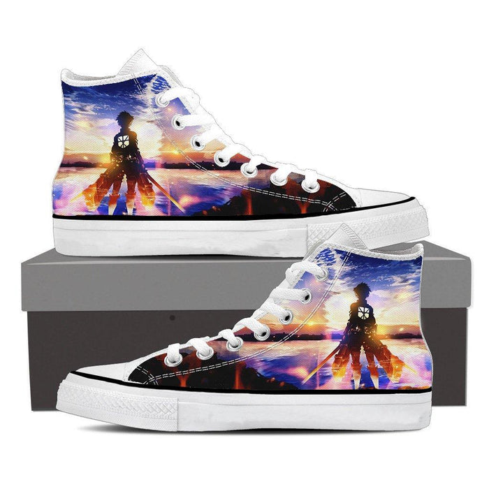 Attack On Titan Lonely Eren Watching Sunset Vibrant Shoes - Konoha Stuff