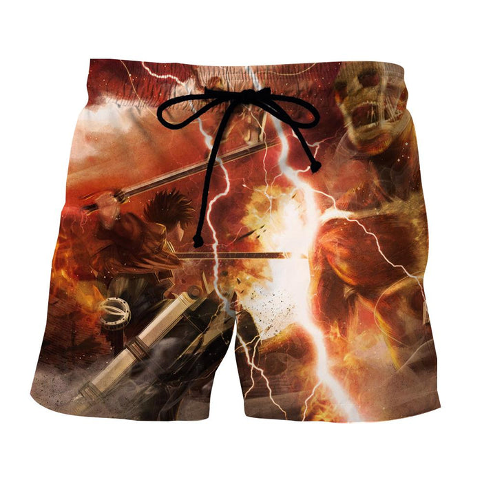 Attack On Titan Lonely Eren Battle Lightning Full Print Short - Konoha Stuff